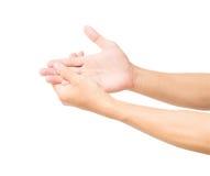 Man handen med smärtar isolerat på vit bakgrund med att fästa ihop PA Arkivbild