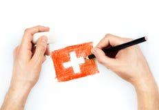 Man handen met potlood trekt vlag van Zwitserland op wit royalty-vrije stock foto's