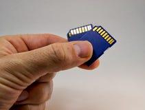 Man handen som rymmer ett minneskort på en vit bakgrund för informationsteknikbegrepp Arkivbild