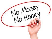 Man handen som skriver inga pengar ingen honung med den svarta markören på visuellt hjälpmedel s Fotografering för Bildbyråer