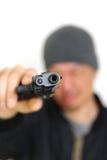 Man with a handgun Stock Photo