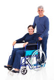 Man handicapped wife Royalty Free Stock Image