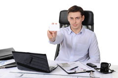 Man handing a blank Stock Image