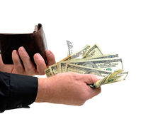 Man handing money from wallet Stock Images