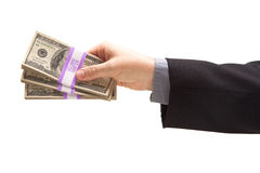 Man Handing Over Hundreds of Dollars Royalty Free Stock Images