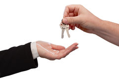 Man Handing Over Woman Set Of Keys Royalty Free Stock Photos
