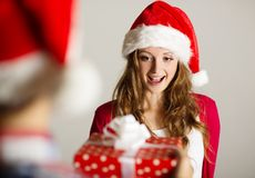 Man handing woman gift Stock Image