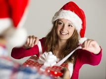 Man handing woman gift Stock Photography