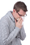 Man with handkerchief and flu Royalty Free Stock Images