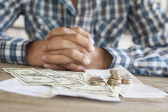 Man hands with bills and money Stock Photos