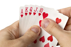 Man hands with cards  over white Royalty Free Stock Photos