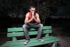 Man with hands clasped Royalty Free Stock Photography
