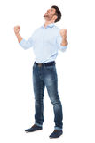 Man with hands clenched in fists in success Royalty Free Stock Images