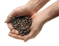 Man hands and coffee Stock Images