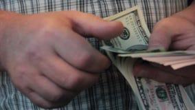 Man hands count dollars professional. Man hands count dollars work professional stock video