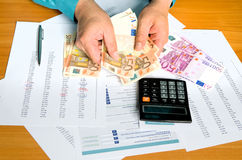 Man hands counting money Stock Images