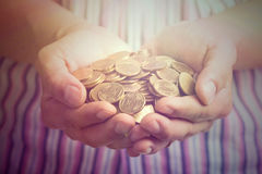 Man hands cover growing plant money coin Stock Photo