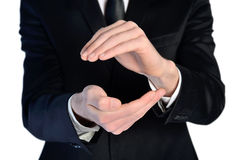 Man hands covering something Royalty Free Stock Photos