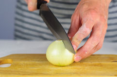 Man hands cutting onion Stock Image