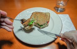 Man hands cutting sandwich with fork and knife Royalty Free Stock Photo
