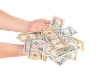 Man hands with dollars. Stock Photography