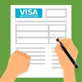 Man hands filling out visa application. Vector illustration Royalty Free Stock Photography