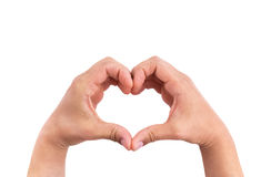 Man hands in the form of heart against the white background, hands in shape of love Royalty Free Stock Photos