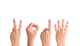 Man Hands Forming Number 2014 Stock Photos