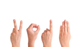 Man Hands Forming Number 2014 Royalty Free Stock Photos