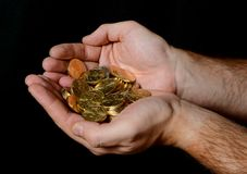 Man Hands full of money Royalty Free Stock Photography