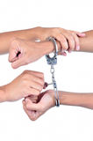 Man hands with handcuffs got arrested Royalty Free Stock Photos