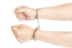 Man hands with handcuffs Royalty Free Stock Photography