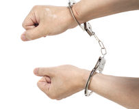 Man hands with handcuffs Royalty Free Stock Images