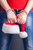 Man hands in handcuffs Royalty Free Stock Images