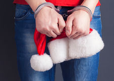 Man hands in handcuffs Stock Photo
