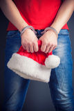 Man hands in handcuffs Stock Photography