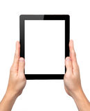 Man hands hold a tablet with isolated screen Stock Photos