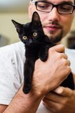 Man hands holding a black baby cat Royalty Free Stock Photography