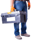 Man hands holding a box of tools Royalty Free Stock Images