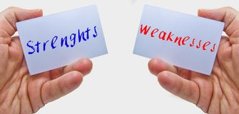 Man hands holding cards with the words strenghts and weaknesses. For swot analysis royalty free stock photos