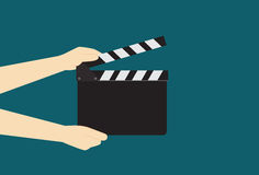 Man Hands Holding Cinema Clapper Board Stock Images