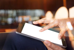 Man hands holding digital tablet with empty blank screen Royalty Free Stock Photography