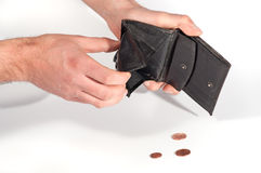 Man hands holding an empty wallet and some euro coins Stock Photography
