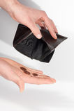 Man hands holding an empty wallet and some euro coins. Isolated on white background. Poverty, crisis Royalty Free Stock Image