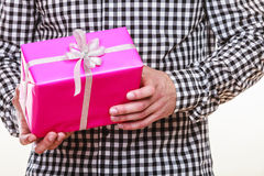 Man hands holding gift box. Holiday surprise. Stock Photography
