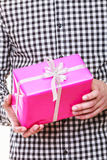Man hands holding gift box. Holiday surprise. Royalty Free Stock Photography
