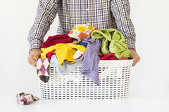 Man hands holding laundry basket stock images