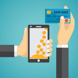 Man hands holding mobile phone and credit card Royalty Free Stock Images