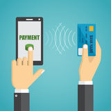 Man hands holding mobile phone, credit card. Royalty Free Stock Image