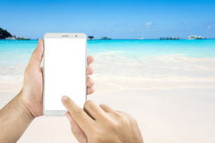 Man hands holding mobile phone isolated screens display Royalty Free Stock Images
